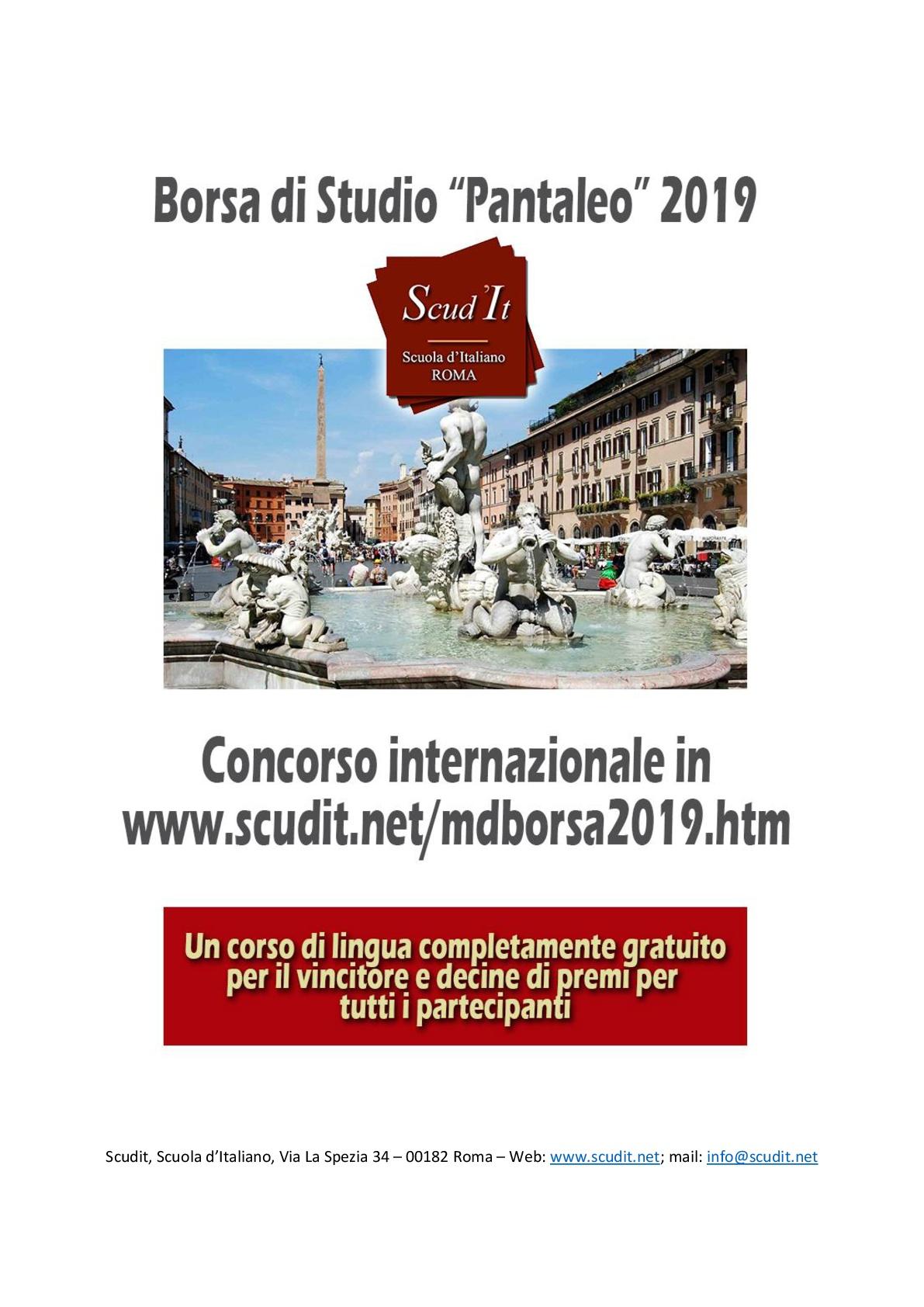 "Borsa di studio ""Lucia Pantaleo"" 2019"